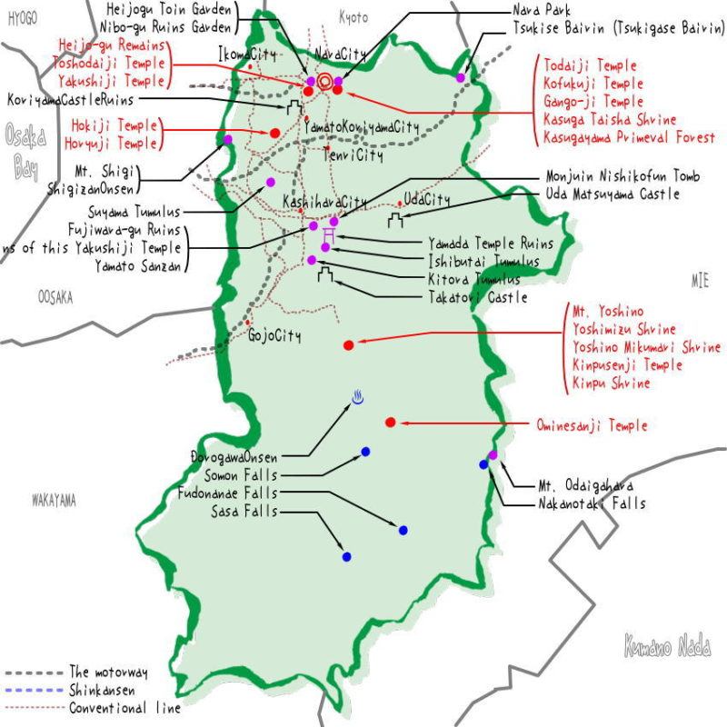 Nara prefecture's map of sightseeing spots, famous places, famous temples, Japan 100 selections.