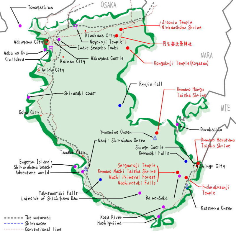 Wakayama prefecture's map of sightseeing spots, famous places, famous temples, Japan 100 selections.