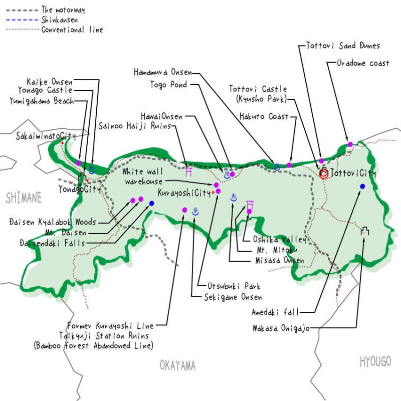 Tottori prefecture's map of sightseeing spots, famous places, famous temples, Japan 100 selections.