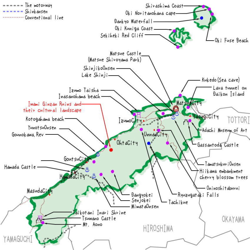Shimane prefecture's map of sightseeing spots, famous places, famous temples, Japan 100 selections.