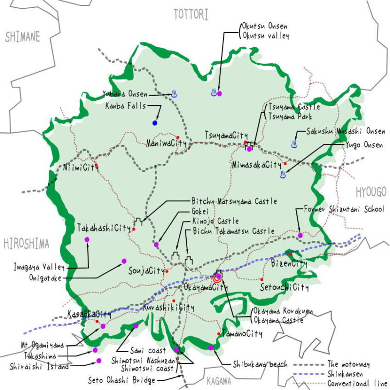 Okayama prefecture's map of sightseeing spots, famous places, famous temples, Japan 100 selections.