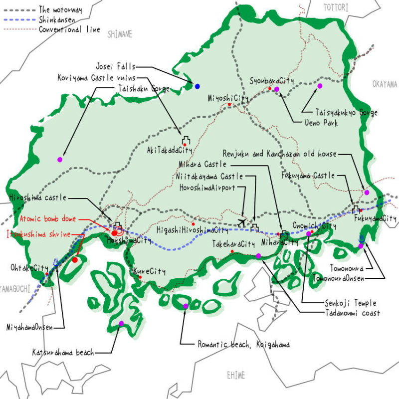 Hiroshima prefecture's map of sightseeing spots, famous places, famous temples, Japan 100 selections.