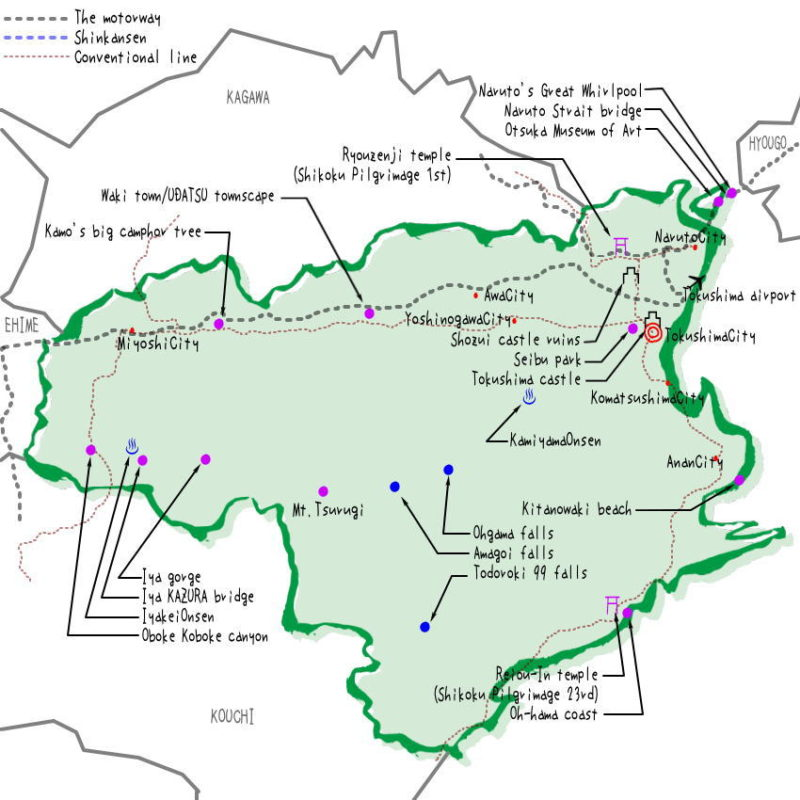 Tokushima prefecture's map of sightseeing spots, famous places, famous temples, Japan 100 selections.