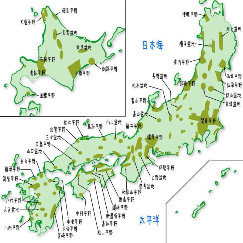 日本の平野・盆地の一覧