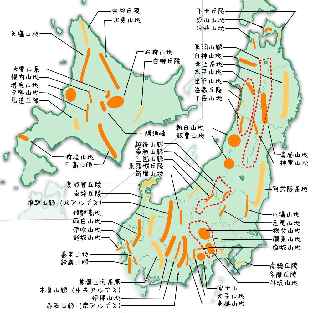 北・東日本の山地・山脈・高地・高原・丘陵一覧
