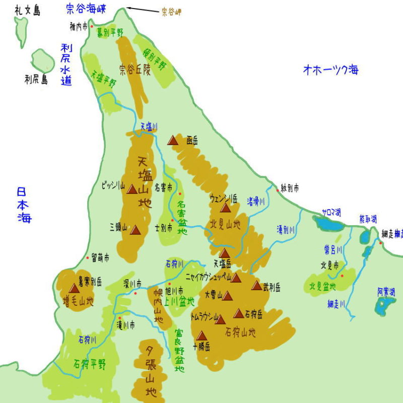 北海道(道北)の地理・地形・地図