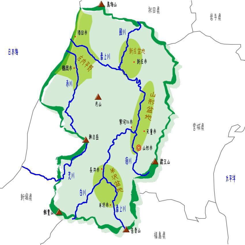 山形県の地理・地形・地図