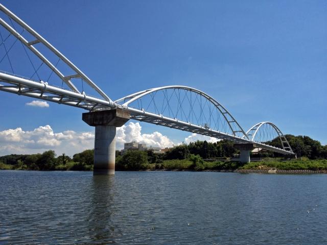 小貝川にかかる水道橋(つくばみらい市)