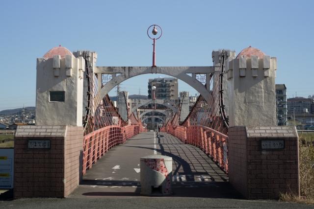 石川にかかる玉手橋(大和川合流地より1.3km上流)