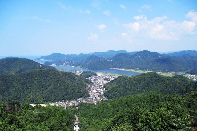 円山川と城崎温泉(河口から3.7km)