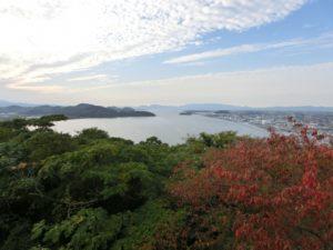 米子城より中海 画面左は島根県、右は米子市内