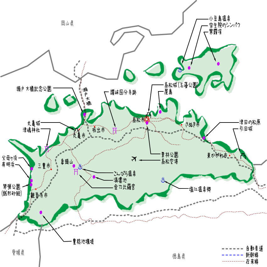 香川県の観光地・名所一覧・地図