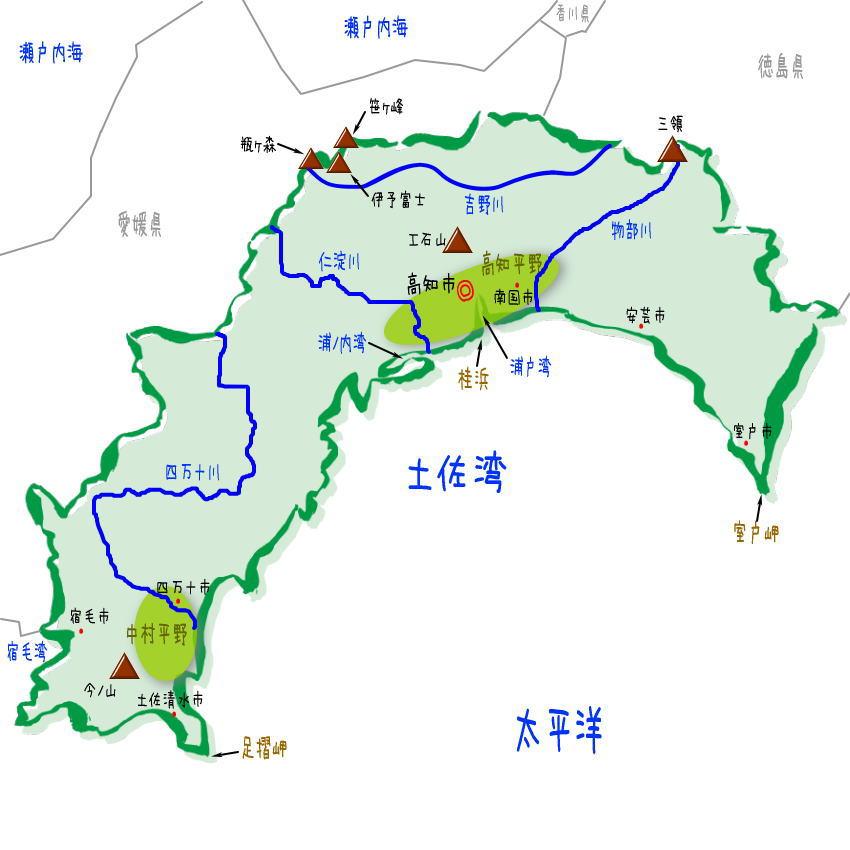 高知県の地形、地理、地図
