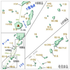 大隅諸島、トカラ列島、奄美群島の位置、距離
