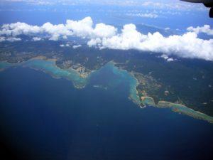 辺野古(画面中央左より)と大浦湾(画面中央部)